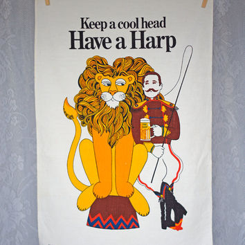 Vintage Harp Lager Irish Linen Tea Towel Whimsical Comical Advertisement Kitchen Dish Towel Hostess Towel