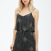 LOVE 21 Flounced Metallic Dotted Cami Dress Black/Gold