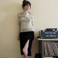 Vintage Shimmery Gold Embroidered Sweater by GinnyandHarriot