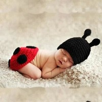 Newborn baby hat hat two sets of suits, hand-knitted wool loaded 171123