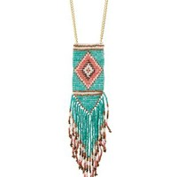 Multi Beaded Fringe Pendant Necklace by Charlotte Russe
