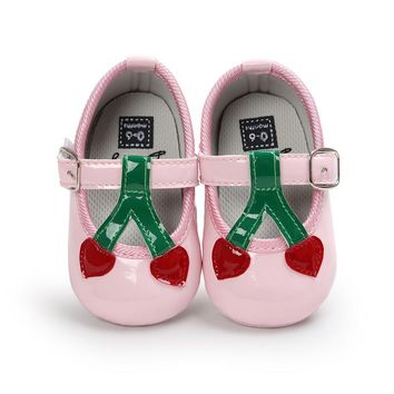 Glitter New Baby Girl Cherry Pattern Princess Soft Soled Shoes Sneakers Casual Spring Shoes First Walkers Booties for Newborns