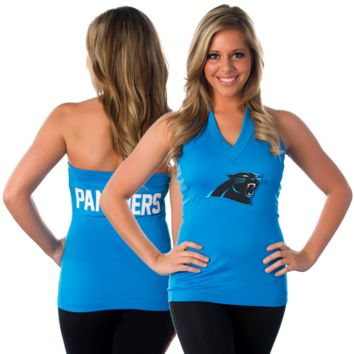 All Sport Couture Carolina Panthers Women's Blown Cover Halter Top - Panther Blue