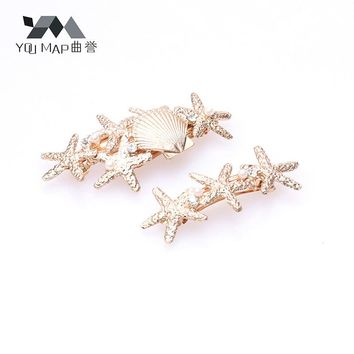 YouMap Gold Silver Five-pointed Star Hair Clip Alloy Seastar Barrette Hairpin Shell Bobby Pin Jewelry Hair Accessories for Women
