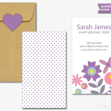 Printable Business Cards Modern Flowers Design DIY Calling Cards Mommy Cards Customized Digital File