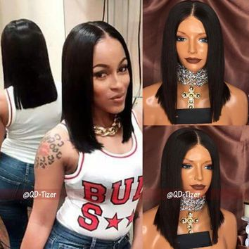 Fashion Bob Wigs Synthetic Lace Front Wig Short Straight Hair Bob Style Black Color