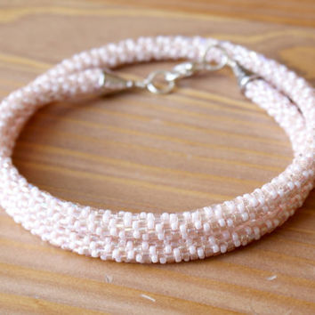 Beaded crochet necklace, rope, pearl, cream, light pink, spiral, silver, gift idea, one of a kind, seed bead jewelry
