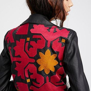 Free People Embroidered Vegan Bomber