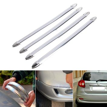 4x Silver Chrome Bumper Corner Guard Protector Car Auto Truck Decoration Strip