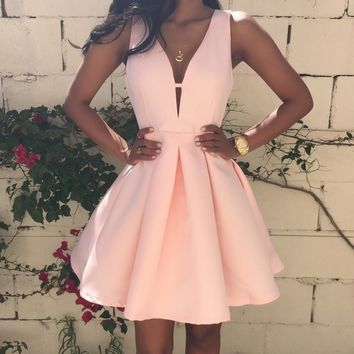 2017 Summer Women Dress Deep V-Neck Backless Sleeveless Pink Dresses Club Evening Party Ladies A-line Mini Dress Plus size