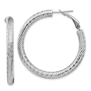 14k White Gold 4 x 30 mm Diamond-cut Omega Back Hoop Earrings