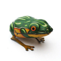 Vintage German Tin Frog  Wind Up Toy 1940s Made by FindsWithAPast