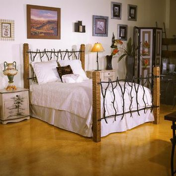South Fork Forged Iron Twig Bed with Rustic Pine Posts