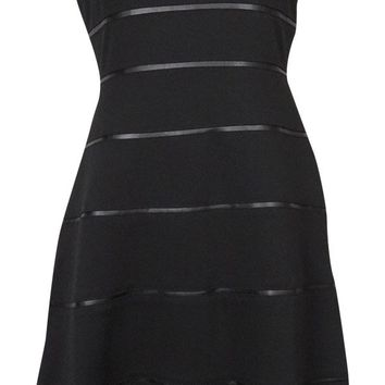 Calvin Klein Women's Faux Leather Insets Flared Ponte Dress