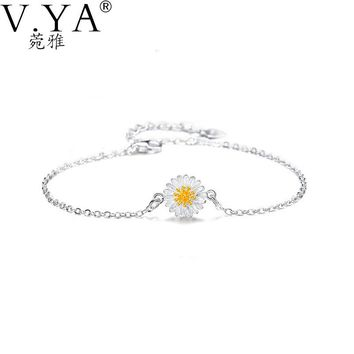 High Quality 100% Real 925 Sterling Silver Bracelet for Women Jewerly  Chrysanthemum Daisy Flower S925 Silver Bracelets CB64