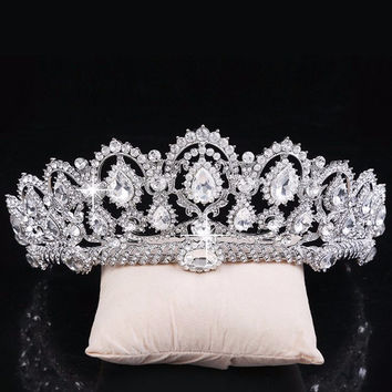 Vintage Big Rhinestone Prom Princess Crown Crystal Bride Quinceanera Tiara Bridal Head Jewelry Pageant Wedding Hair Accessories