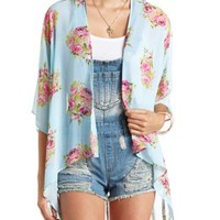 Sheer Floral Print Kimono Top by Charlotte Russe - Pale Mint Combo