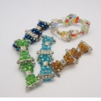 Mixed Faceted Crystal & Rhinestone Cabochon Stretch Bracelet