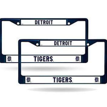 Detroit Tigers Blue Painted Chrome Metal (2) License Plate Frame Set