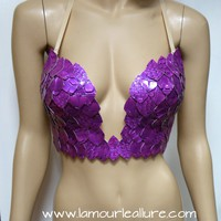 Purple Iridescent Dragon Scale Mermaid Plunge Bra Cosplay Dance Costume Rave Bra Wear Halloween