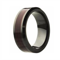 ATREO Men's Ceramic Ring with Burgundy Wood Inlay & Beveled Edges 8mm
