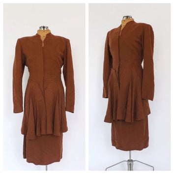 Vintage 1930s 1940s Lord and Taylor Skirt Suit Travel Suit Blazer Jacket Pencil Skirt Set Tan Brown Wool 40s Vogue Fall Outfit Riding Jacket