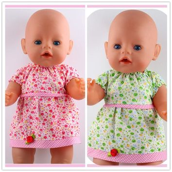 2color choose leisure dress doll clothes Wear fit 43cm Baby Born zapf, Children best Birthday Gift(only sell clothes)