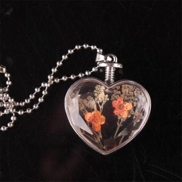 ac spbest 2017  Hot Trendy Jwelry Transparent Glass Made Dry Flower Inside Heart Pendant Necklace Valentine's Day Gifts Necklace For Women