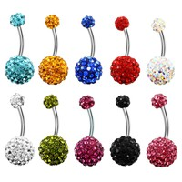 1PCS Crystal Rhinestone Woman Navel Belly Button Ring Pircing Surgical Steel Real Belly Piercing Navel Ringen Bar Body Jewelry