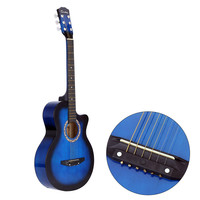 "Blue 38"" Acoustic Folk 6-String Guitar for Beginners Students Gift"