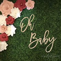 """Oh Baby"" 36 inch Baby Shower Backdrop Sign, Acrylic or Wood"