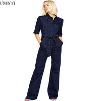 Europe 2016 Denim Overalls Women Fashion Handsome lacing Slim Half Sleeve Tooling Denim jumpsuit Casual Rompers for women