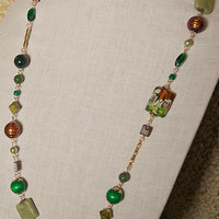 Handmade Green Lampworked Bead Necklace Green Gemstone Olive Green Serpentine Necklace Long Green Necklace