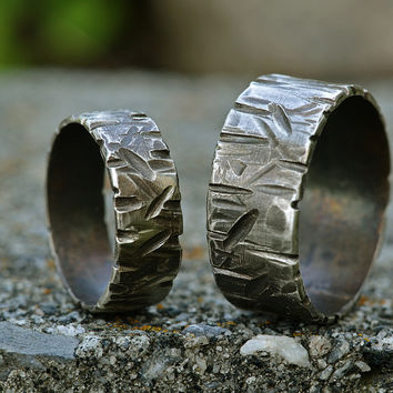 Matching Couple Silver Ring Set, Distressed Silver Ring Bands-  Heavy Texture, Slashes, Scuffs, Dings- Blackened Silver Finish
