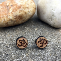 Ohm Symbol Earrings - Unique Gift - Wooden Earrings Studs