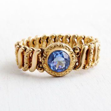 Vintage Blue Glass Stone Expansion Bracelet- Mid Century WWII 1940s Gold Filled D.F.B. Co. Carmen Stretch Sweetheart Jewelry