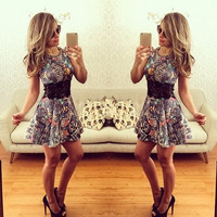 Fashion Women Summer Sleeveless Printing Dress = 1946714692