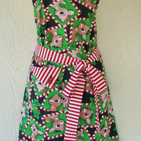 Retro Christmas Apron, Peppermint Candy Cane Stripes and Reindeer, KitschNStyle
