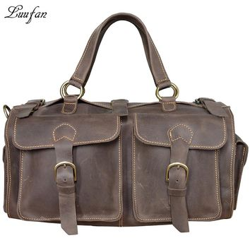 Men's Crazy horse Leather travel bag Real leather travel duffel Cow leather tote bag Large capacity shoulder bag weekend bag