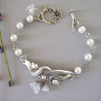 Lily of the Valley Bracelet, Lily Bracelet, Silver Bracelet, Flower Bracelet, Bridesmaid, Flower Girl, White Pearls, Weddings