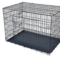 "New 42"" 2 Doors Pet Folding Suitcase Dog Cat Crate Cage Kennel w/ABS Tray"