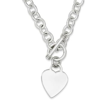 Sterling Silver 8mm Heart Fancy Link Toggle Necklace