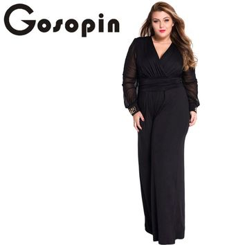 Gosopin Hot Selling Woman Wide Leg Elegant jumpsuits Black Embellished Cuffs Long Mesh Sleeves Jumpsuit LC6650 Combinaison Femme