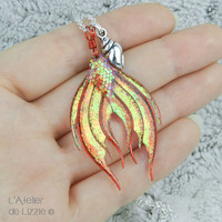 Mermaid Tail pendant #1 Red / Coral Twinckle
