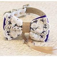 Purple Lace and Burlap Dog ring bearer, Pet Wedding, Rustic, Bohemian