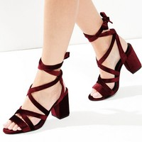 Wide Fit Red Velvet Tie Up Heeled Sandals