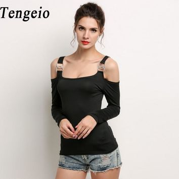Tengeio off the shoulder tops for women Cold Shoulder Tops Metal Buckle Long Sleeve White T Shirt Tee Shirt Femme Fall Tshirt 15