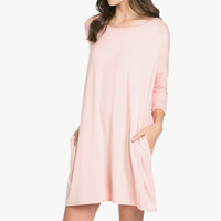 Round neck Dolman Dress Blush