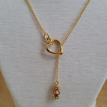 Gold Lariat necklace, lariat with gold heart, Swarovski pearl lariat, crystal lariat, lariat and Y necklaces