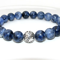 Mens Sodalite Bracelet, Mens Beaded Bracelet, Bracelet for Men, Stretch Bracelet, Denim Blue, Gift for Him, Jewelry for Men